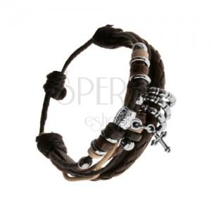 Pletený náramek, černé, hnědé a béžové šňůrky, křížek s patinou