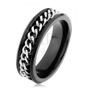 Lesklý černý prsten z oceli 316L, řetízek ve stříbrném odstínu