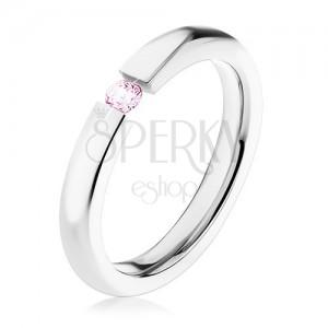 Ocelový prsten, lesklá ramena, světle růžový zirkon, 3 mm