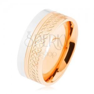 Lesklý prsten, ocel 316L, dvoubarevné provedení, keltský vzor