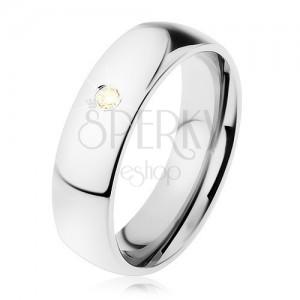 Široký prsten, ocel 316L, žlutý zirkonek, zrcadlový lesk, 6 mm