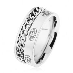 Ocelový prsten, řetízek, stříbrná barva, matný povrch, ornamenty HH10.17