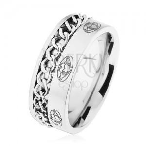 Ocelový prsten, řetízek, stříbrná barva, matný povrch, ornamenty