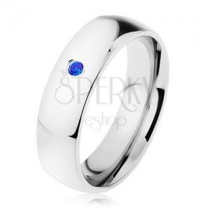 Prsten, ocel 316L, stříbrný odstín, zrcadlový lesk, modrý zirkonek