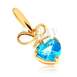 Zlatý přívěsek 585 - mašlička a srdíčkovitý topas v modrém odstínu