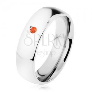 Prsten z oceli 316L, červený zirkonek, vysoký lesk