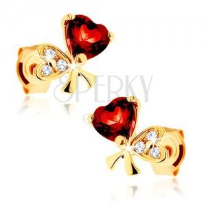 Zlaté náušnice 585 - mašle ze dvou srdcí, červený granát, čiré zirkonky