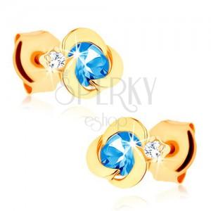 Zlaté náušnice 585 - kvítek s oblými okvětními lístky, modrý topasový střed