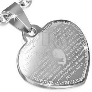 Ocelový přívěsek, ploché srdce stříbrné barvy, modlitba