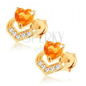 Náušnice z 14K žlutého zlata - dvě překrývající se srdce, žlutý citrín