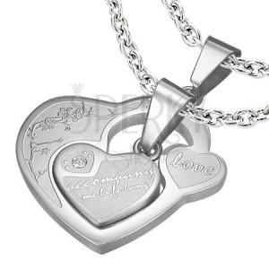 Přívěsek pro dvojici, chirurgická ocel, dvě srdce s nápisy a zirkonky