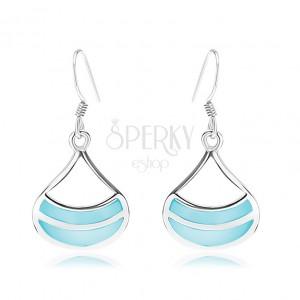 Náušnice ze stříbra 925, rhodiované, široký obrys kapky, modrá perleť