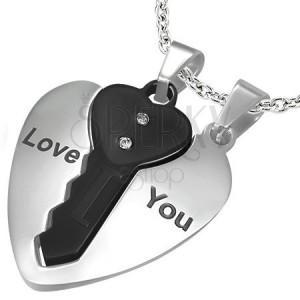 Ocelové přívěsky pro pár, srdce stříbrné barvy a černý klíček