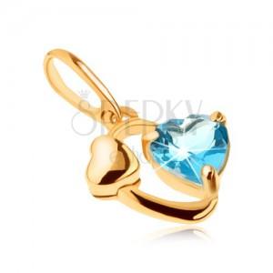 Zlatý přívěsek 585 - kontura oválu, lesklé srdíčko, srdce z modrého topasu