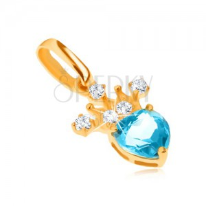 Přívěsek ve žlutém 14K zlatě, zirkonová korunka, modrý srdíčkovitý topas