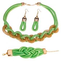 Set náušnic, náhrdelníku a náramku, pletená šňůrka, pistáciově zelená X41.5