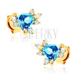 Náušnice ze žlutého 14K zlata - modrý trojúhelníkový topas, zirkonky čiré barvy