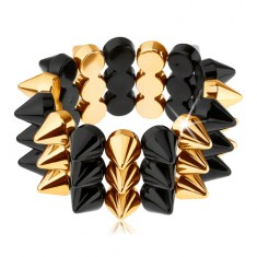 Třířadý ostnatý náramek, elastický, černý a zlatý odstín X41.7
