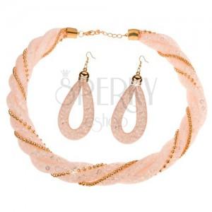 Set náhrdelníku a náušnic, světle růžová síťka s čirými krystalky, řetízky