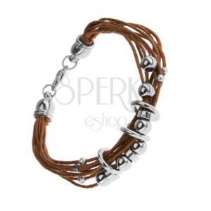 Šňůrkový náramek, světle hnědý odstín, lesklé ocelové kroužky a korálky