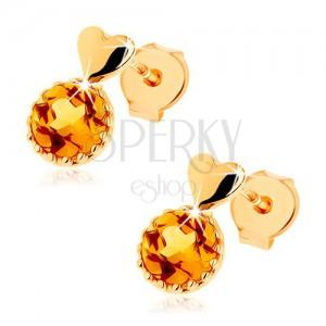 Puzetové náušnice ze žlutého 14K zlata - malé vypouklé srdce, kulatý žlutý citrín