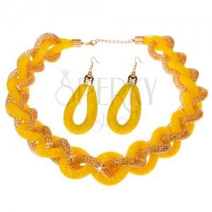Sada náhrdelníku a náušnic, masivní pletený řetěz, žlutá síťka - korálky