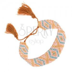 Blýskavý korálkový náramek, tyrkysovo-bílo-zlatá barva, indiánský vzor