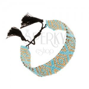 Nastavitelný náramek, blýskavé korálky, tyrkysovozlatá barva, černé šňůrky