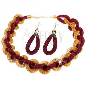 Sada - náhrdelník, náušnice, zapletený řetízek, síťka, růžové korálky