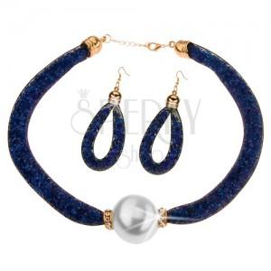 Sada - náhrdelník, náušnice, síťka a tmavomodré blýskavé krystalky, kulička