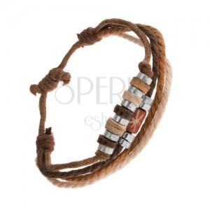 Náramek ze šňůrek hnědé a béžové barvy, dřevěné a ocelové korálky