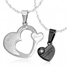 Dvojitý přívěsek pro pár, ocel 316L - srdce stříbrné a černé barvy, zirkony U24.17