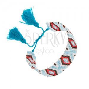 Korálkový náramek, indiánský vzor, světle modrá, bílá, černá, červená barva