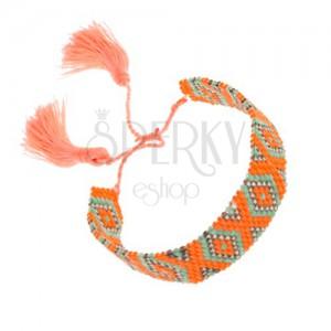 Náramek z korálků, oranžová, zelená, šedá barva, vzor - kosočtverce