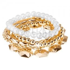 Multináramek, korálky různých velikostí, zlatá a bílá barva, elastický