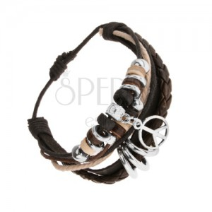 Nastavitelný náramek z kůže a motouzků, dřevěné a ocelové korálky, symbol míru