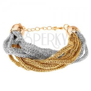 Náramek, pletené řetízky z měkkých vláken, zlatá a stříbrná barva