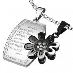 Ocelový dvojpřívěsek, leslý obdélník s kvítkem, stříbrná a černá barva