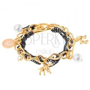 Náramek, řetízky - zlatá a černá barva, přívěsky - pejsci, bílé korálky