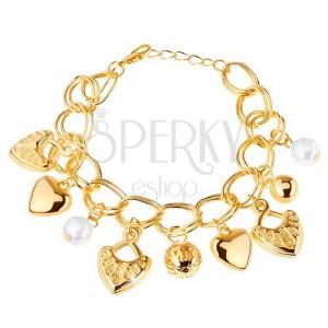Náramek, zlatá barva, dvojitý řetízek, přívěsky - kuličky, srdíčka, karabinka