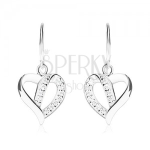 Stříbrné náušnice 925, kontura asymetrického srdce zdobená zirkony
