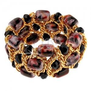 Třpytivý náramek, černé broušené kuličky, fialovo-černé korálky, řetízek