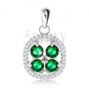Přívěsek ze stříbra 925, zvlněná blýskavá obruba, zelené zirkony