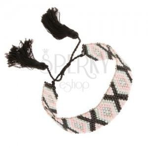 Nastavitelný náramek z korálků, kosočtverce šedé, růžové a černé barvy