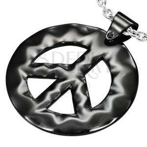 Černý přívěsek z oceli - hippies znak míru