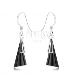 Náušnice - stříbro 925, afro háčky, vypouklé trojúhelníky, černý kámen