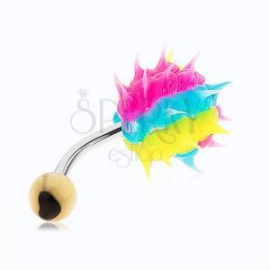 Piercing do pupíku z chirurgické oceli, barevný silikonový ježek