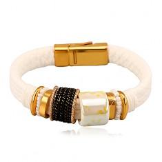 Bílý náramek, ozdobné korálky, šňůrky, kroužky, magnetické zapínání X48.11