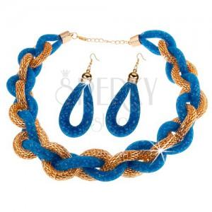 Set - náhrdelník a náušnice, tlustý pletený řetízek, modrá síťka s korálky