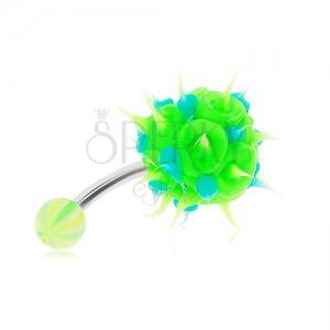 Ocelový piercing do bříška, zeleno-modrý silikonový ježek